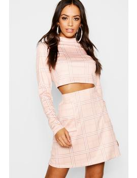 Check Pocket Detail And High Neck Top Co Ord by Boohoo