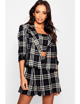 Check Double Breasted Boxy Blazer by Boohoo