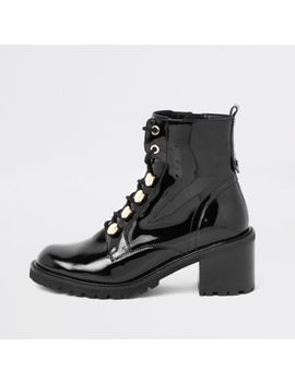 Black Patent Lace Up Chunky Boots by River Island