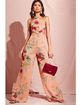 Floral Print Cut Out Wide Leg Jumpsuit by Boohoo