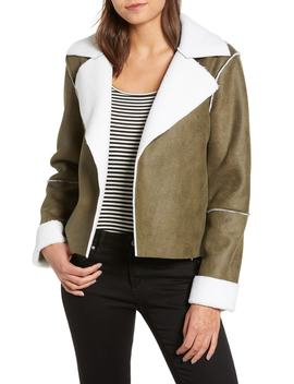 Faux Shearling Moto Jacket by Vigoss