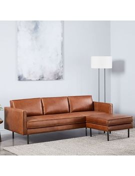 "Axel Leather Sofa (89"") + Ottoman Set by West Elm"