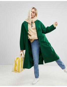 Weekday Wool Coat In Bottle Green by Weekday