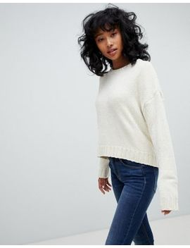 Pull&Bear – Langärmliger Chenille Pullover In Creme by Pull&Bear