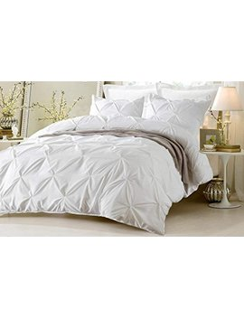 Kotton Culture Pinch Pleated Duvet Cover Set 3 Piece With Zipper & Corner Ties 100 Percents Egyptian Cotton 600 Thread Count Hypoallergenic (1 Duvet Cover 2 Pillow Shams) (Queen/Full, White) by Kotton Culture
