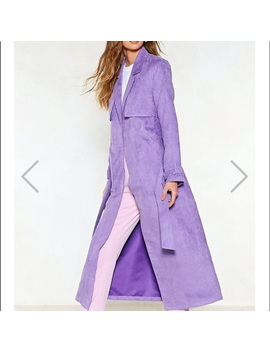 Nasty Gal Vegan Suede Trench Coat / Purple   Nwt by Nasty Gal