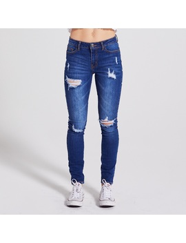 Adam Levine Women's Destructed Skinny Jeans   Dark Wash by Kmart