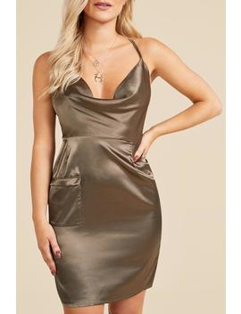 Satin Cowl Utility Pocket Mini Dress by Boohoo
