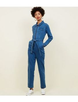 Blue Ring Zip Front Lightweight Denim Jumpsuit by New Look