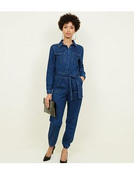 Blue Denim Cuffed Long Sleeve Jumpsuit by New Look