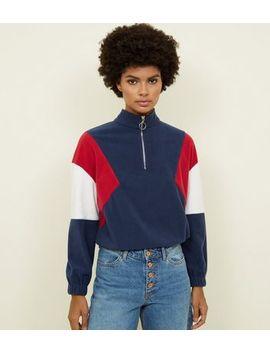 Blue Colour Block Half Zip Fleece Sweatshirt by New Look
