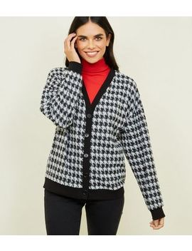 Black Houndstooth Check Fine Knit Cardigan by New Look