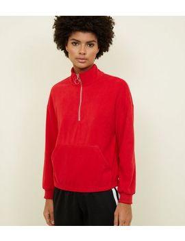 Red Half Zip Front Fleece Sweatshirt by New Look