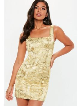 Gold Satin Jacquard Dress by Missguided