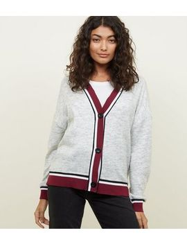 Light Grey Contrast Ribbed Trim Cardigan by New Look