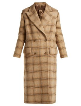 Detachable Sleeve Checked Wool Coat, Beige by Mm6 Maison Margiela