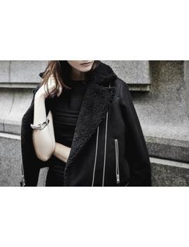 All Saints Zagreb Biker Jacket Sheepskin Collar Black Size Uk 12  Bnwt £398 by Ebay Seller