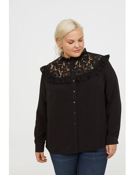 H&M+ Lace Blouse With Frills by H&M