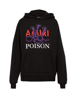 Poison Snake Cotton Hooded Sweatshirt by Amiri