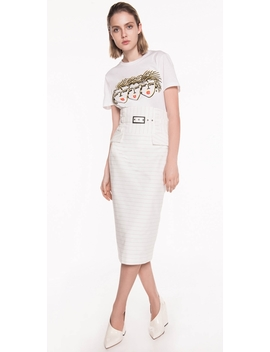 Pinstripe Cotton Belted Skirt by Cue