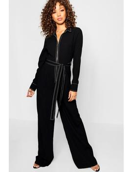 Contrast Stitching Wide Leg Jumpsuit by Boohoo