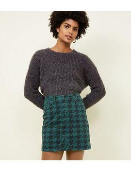 Dark Green Houndstooth Print Denim Mini Skirt by New Look