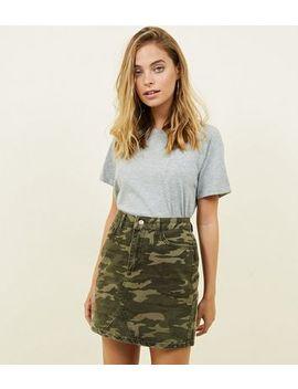 Petite Khaki Camo Print Denim Mini Skirt by New Look