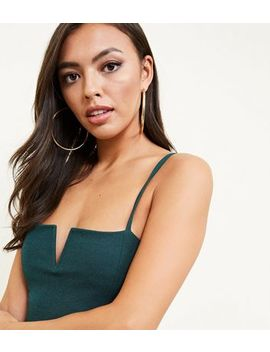 Dark Green Notched Neck Bodysuit by New Look
