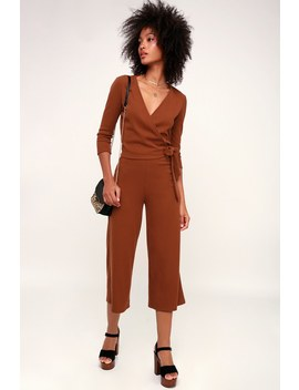 Cuddle Buddy Rust Brown Ribbed Culotte Pants by Lulus