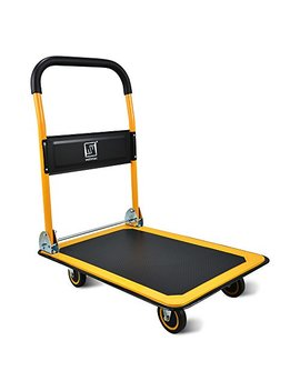Push Cart Dolly By Wellmax | Functional Moving Platform + Hand Truck | Foldable For Easy Storage + 360 Degree Swivel Wheels + 330lb Weight Capacity | Yellow Colour by Wellmax