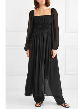 Open Back Shirred Silk Georgette Maxi Dress by Stella Mc Cartney