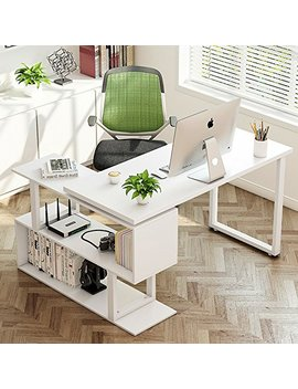 "Tribesigns Modern L Shaped Desk, 55"" Rotating Desk Corner Computer Office Desk Study Writing Table Workstation With Shelves For Home Office, White by Tribesigns"
