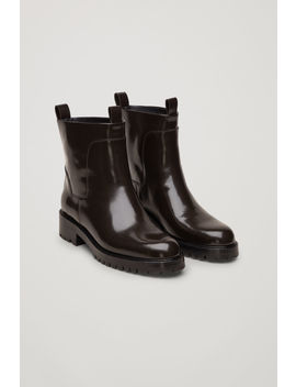 Ridged Sole Leather Ankle Boots by Cos