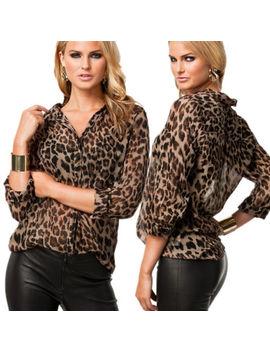 Women Lapel Leopard Print Chiffon Shirt Long Sleeve Slim T Shirt Tops Blouse Uk by Ebay Seller