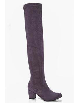 Block Heel Stretch Knee High Boots by Boohoo