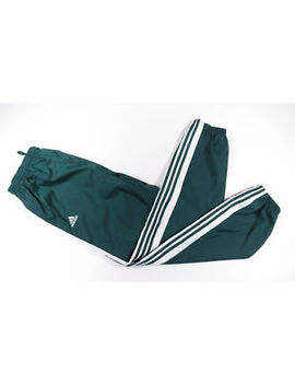 Vintage 90s Adidas Green Nylon  3 Stripe  Lined Windbreaker Track Pants Mens L by Adidas