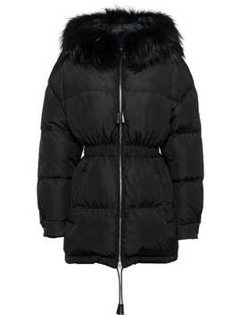 Feather Nylon Puffer Jacket With Fur by Prada