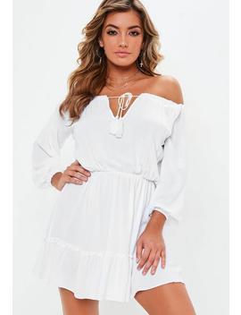 White Bardot Tassel Skater Dress by Missguided
