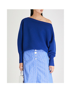 One Shoulder Ribbed Wool Jumper by Victoria Victoria Beckham