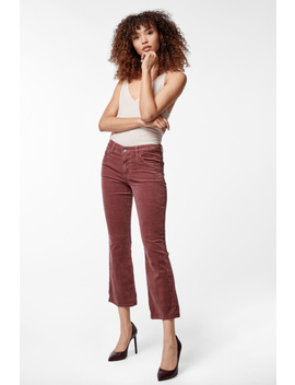 Selena Mid Rise Cropped Boot Cut In Velveteen Warm Sable by J Brand