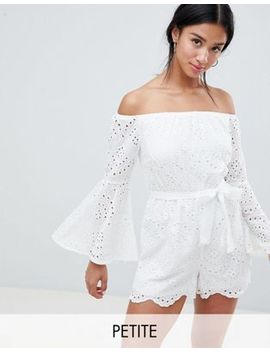 Parisian Petite Broderie Off Shoulder Romper by Romper