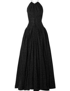 Open Back Flocked Wool Blend Halterneck Gown by Alaïa