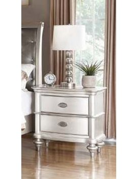 Rosdorf Park Rey Antique Silver Wood 2 Drawer Nightstand by Rosdorf Park