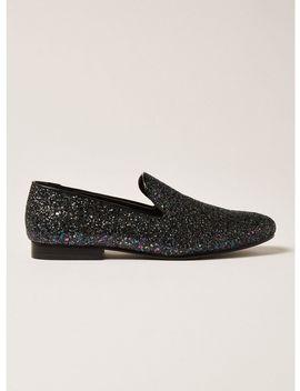 Black Glitter Duke Loafers by Topman