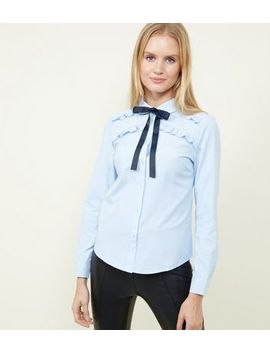 Brave Soul Pale Blue Tie Neck Shirt by New Look