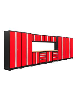 Bold 3.0 77.25 In. H X 216 In. W X 18 In. D 24 Gauge Welded Steel Bamboo Worktop Cabinet Set In Red (14 Piece) by New Age Products