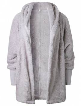 Oversize Open Front Furry Coat   Light Gray L by Zaful