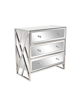 Decmode Modern Wood And Metal 3 Drawer Mirrored Console, Silver by Dec Mode