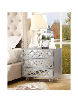 Randall Light Grey Glossy Nightstand   3 Drawer | Mirrored | Side Table | Modern | Lucite Acrylic Legs | By Inspired Home by Inspired Home