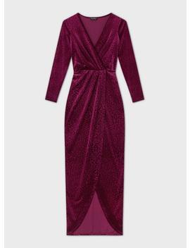 Burgundy Devore Animal Maxi Dress by Miss Selfridge